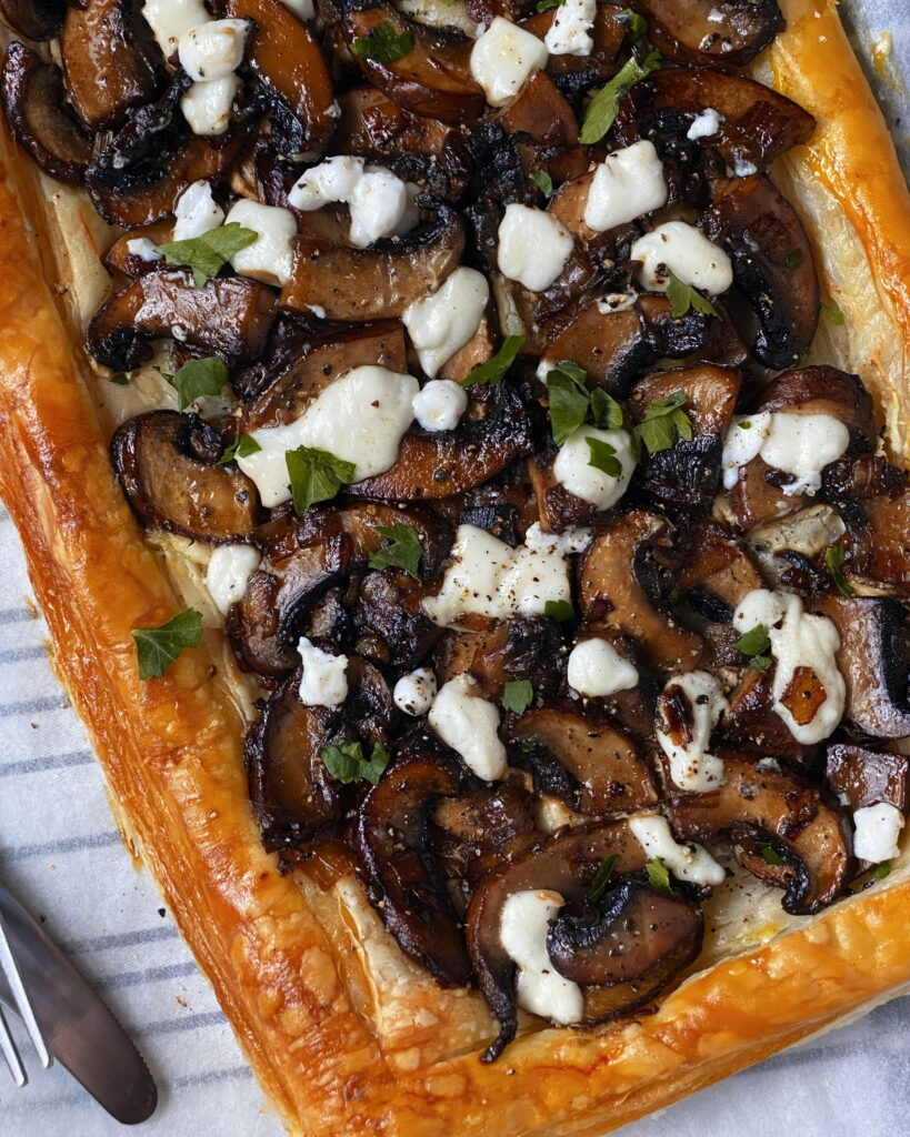 mushroom and goat cheese tart