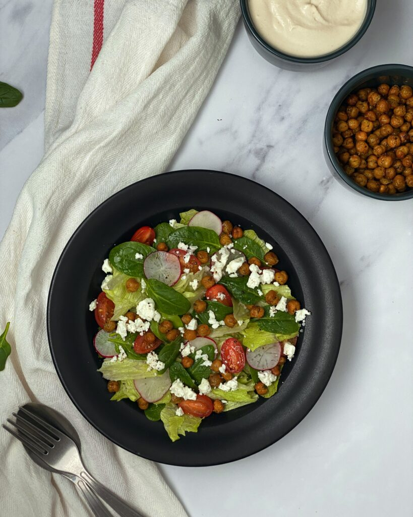 Roasted Chickpeas Greek Salad with Cashew Dressing