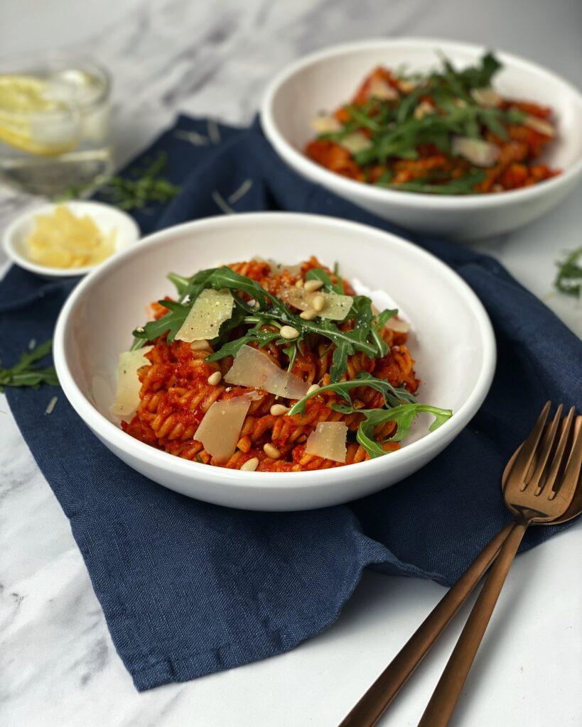 Tomato Sauce Pasta with Arugula
